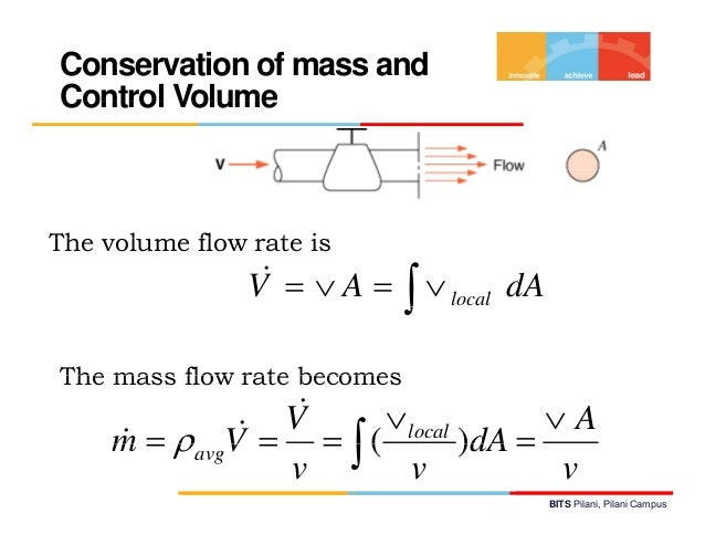 Thermodynamics lecture 10 bits pilani pilani campus 17 conservation of mass andcontrol volumethe lth volume fl flow rate ccuart Image collections