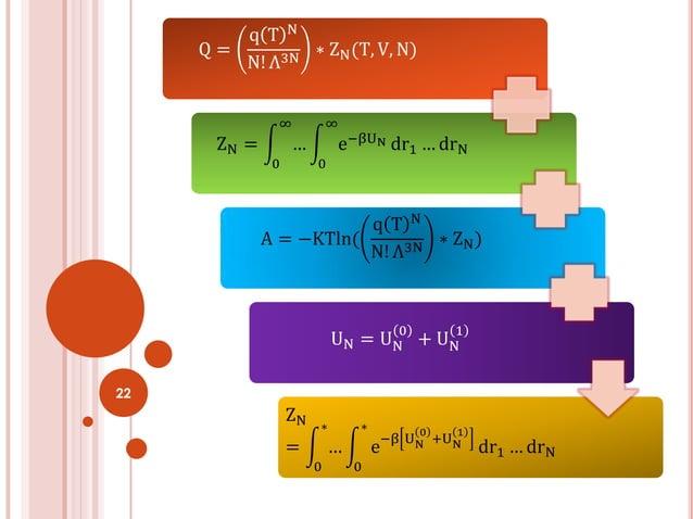 22 Q = q T N N! Λ3N ∗ ZN(T, V, N) ZN = … ∞ 0 e−βUN ∞ 0 dr1 … drN A = −KTln( q T N N! Λ3N ∗ ZN) UN = UN 0 + UN 1 ZN = … ∗ 0...