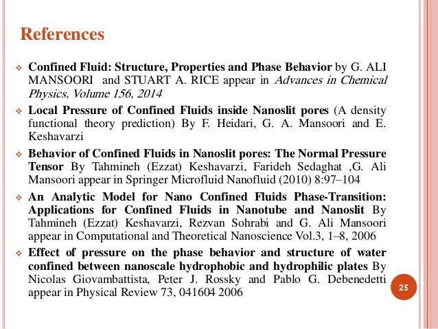  Confined Fluid: Structure, Properties and Phase Behavior by G. ALI MANSOORI and STUART A. RICE appear in Advances in Che...