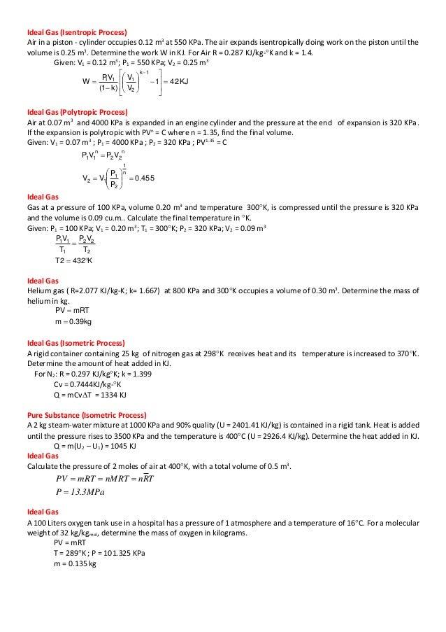 Thermodynamics problems