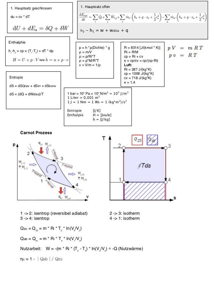 1. Hauptsatz geschlossen                1. Hauptsatz offen du = cv * dT                                         h₂ - h₁ = ...