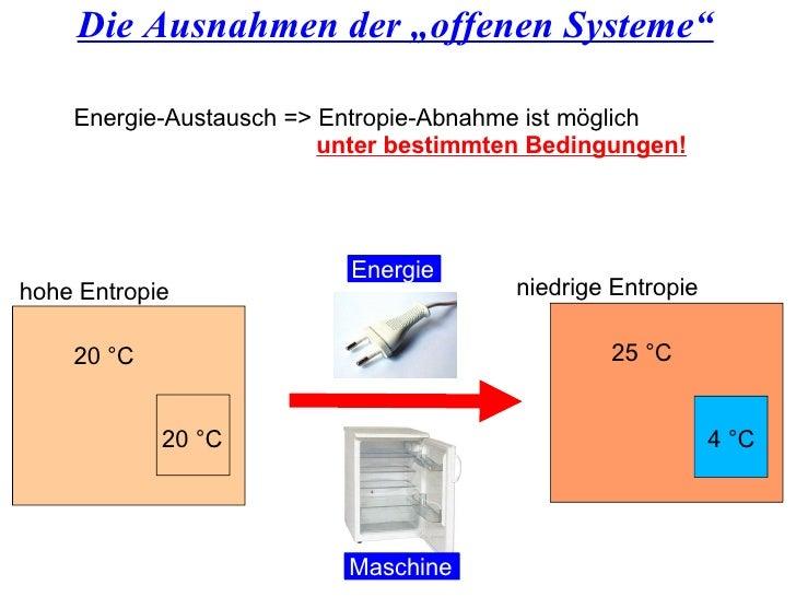 """Die Ausnahmen der """"offenen Systeme"""" 25 °C 4 °C 20 °C 20 °C Energie-Austausch => Entropie-Abnahme ist möglich unter bestimm..."""