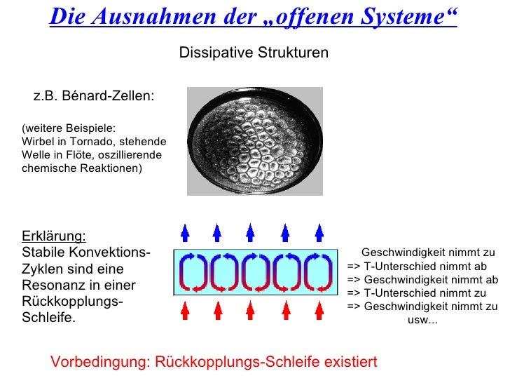 """Die Ausnahmen der """"offenen Systeme"""" Vorbedingung: Rückkopplungs-Schleife existiert Dissipative Strukturen z.B. Bénard-Zell..."""