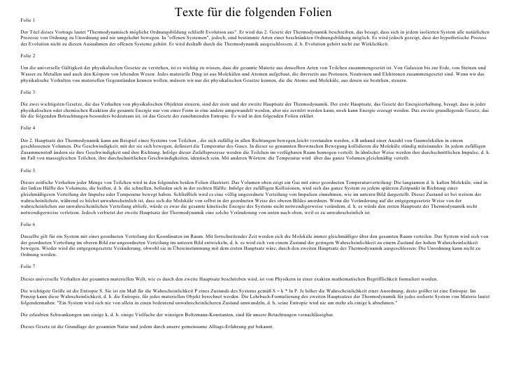 """Texte für die folgenden Folien Folie 1 Der Titel dieses Vortrags lautet """"Thermodynamisch mögliche Ordnungsbildung sch..."""