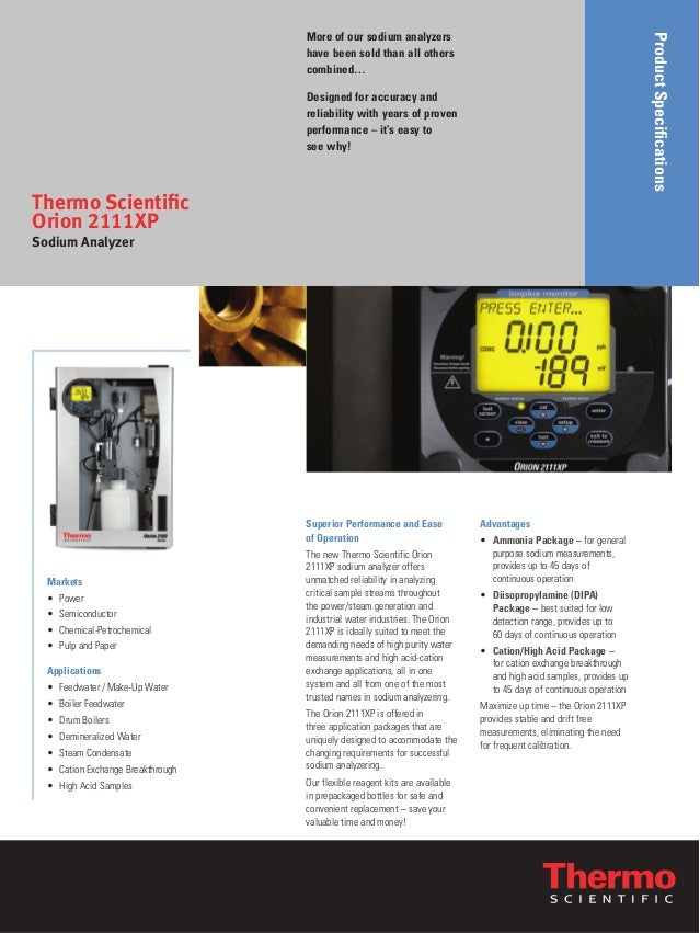 ProductSpecifications More of our sodium analyzers have been sold than all others combined… Designed for accuracy and reli...