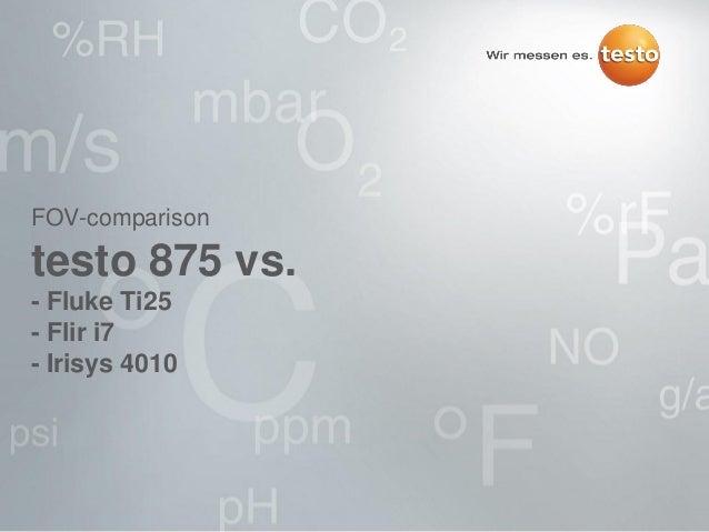 FOV-comparison testo 875 vs. - Fluke Ti25 - Flir i7 - Irisys 4010