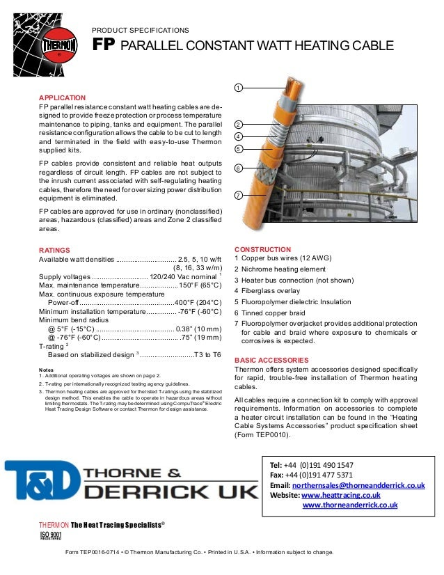 Thermon fp heat tracing cable spec sheet for Home construction specification sheet