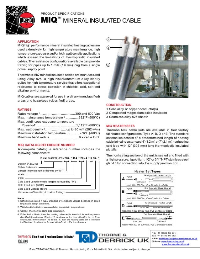 Thermon miq heat tracing cable spec sheet for Home construction specification sheet