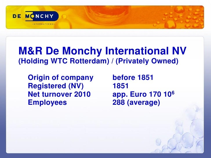 M&R De Monchy International NV(Holding WTC Rotterdam) / (Privately Owned)  Origin of company      before 1851  Registered ...