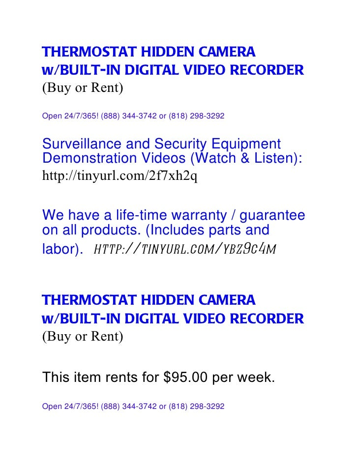 THERMOSTAT HIDDEN CAMERAw/BUILT-IN DIGITAL VIDEO RECORDER(Buy or Rent)Open 24/7/365! (888) 344-3742 or (818) 298-3292Surve...