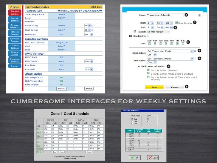 CUMBERSOME INTERFACES FOR WEEKLY SETTINGS