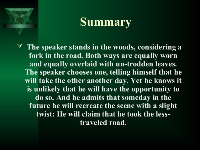 robert frost the road not taken summary and analysis