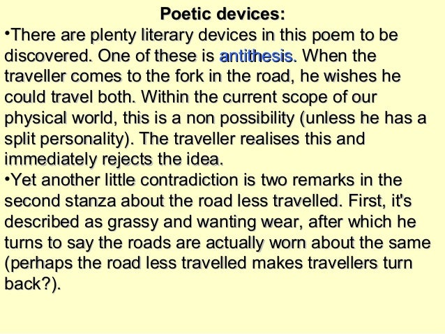 poetic devices in the road not taken by robert frost