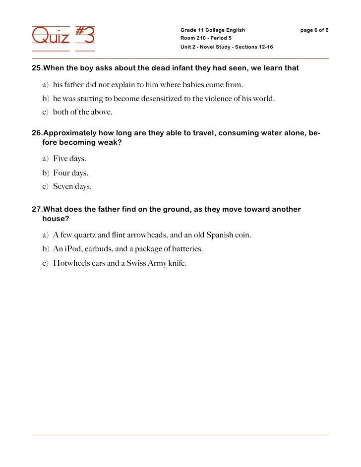 Quiz #3                                     Grade 11 College English                                             Room 210 ...