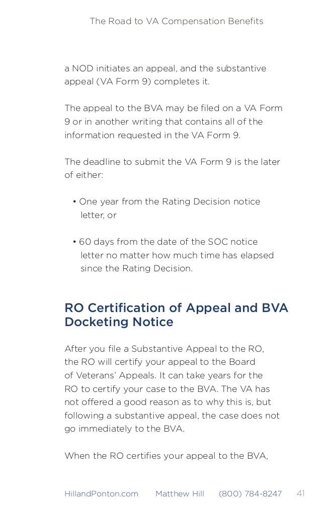 42 The Road to VA Compensation Benefits HillandPonton.com Matthew Hill (800) 784-8247 you will be notified in the form of a ...