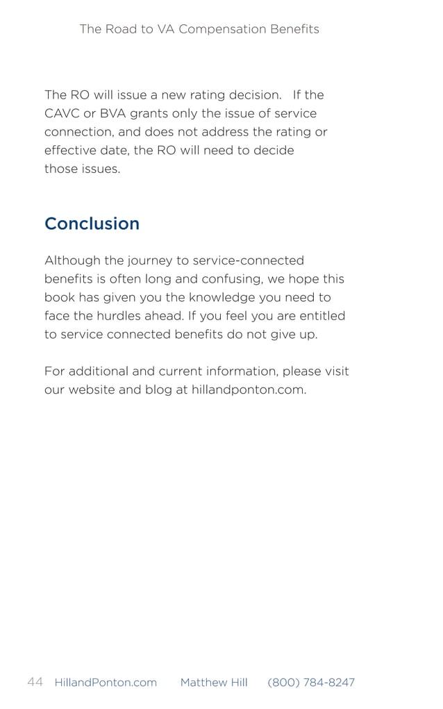The Road to VA Compensation Benefits 45HillandPonton.com Matthew Hill (800) 784-8247 COMMON VA ABBREVIATIONS AND ACRONYMS A...