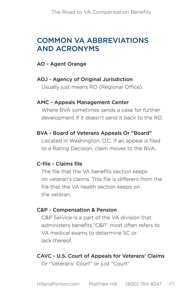 46 The Road to VA Compensation Benefits HillandPonton.com Matthew Hill (800) 784-8247 CUE* - Clear & Unmistakable Error CUE...