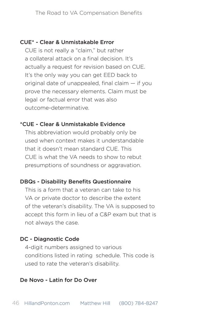 The Road to VA Compensation Benefits 47HillandPonton.com Matthew Hill (800) 784-8247 The adjudicator should not give any we...