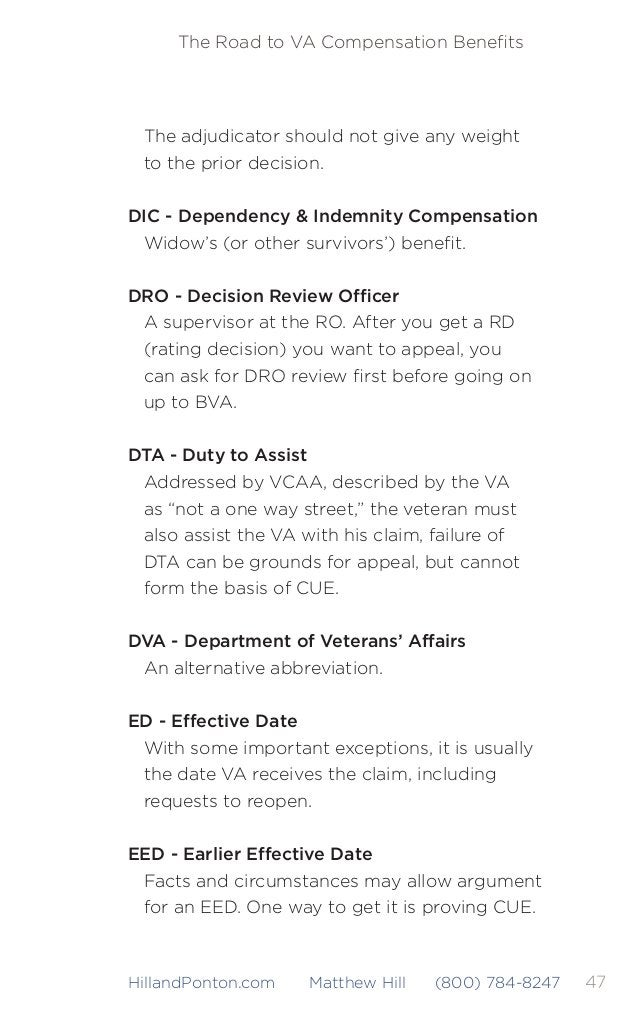 48 The Road to VA Compensation Benefits HillandPonton.com Matthew Hill (800) 784-8247 EPTS or EPTE - Existed Prior to Servi...