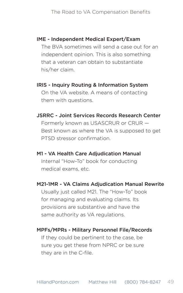 50 The Road to VA Compensation Benefits HillandPonton.com Matthew Hill (800) 784-8247 NARA - National Archives & Records Ad...