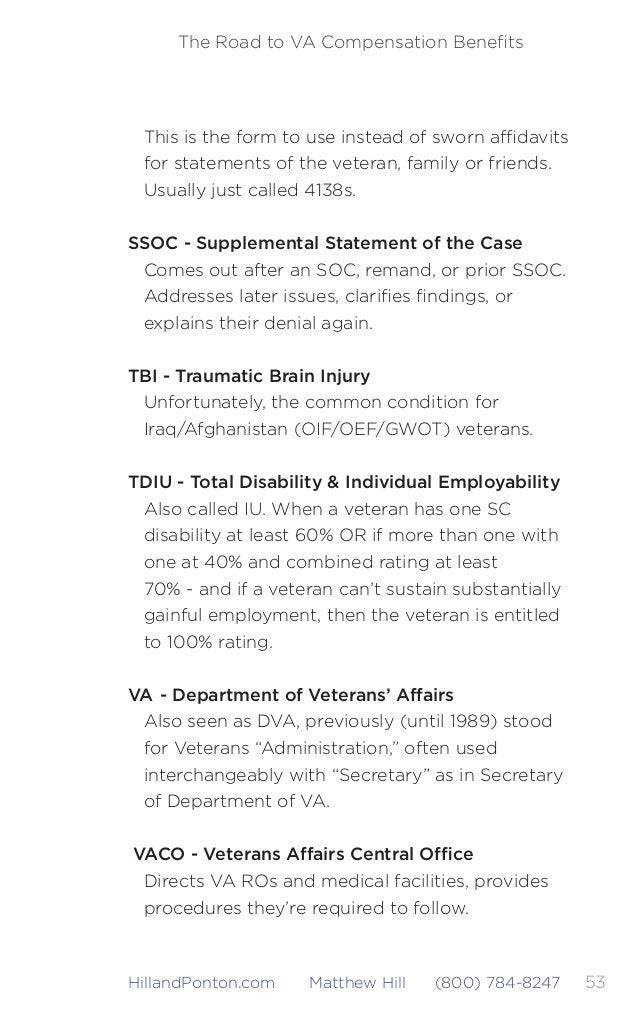 54 The Road to VA Compensation Benefits HillandPonton.com Matthew Hill (800) 784-8247 VAMC - VA Medical Center Usually wher...