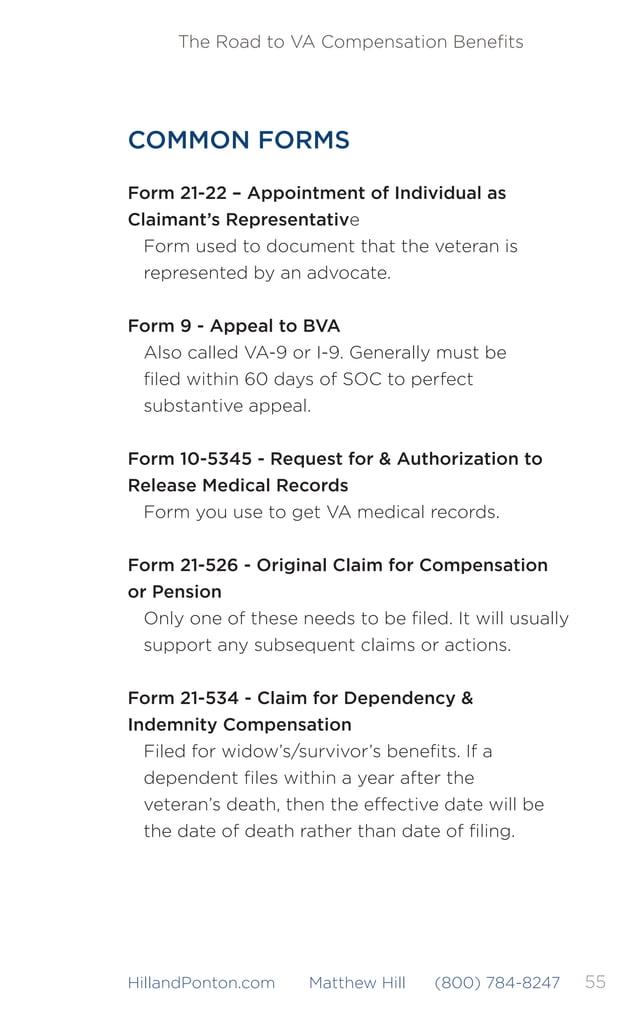 56 The Road to VA Compensation Benefits HillandPonton.com Matthew Hill (800) 784-8247 Form 21-4138 - Statement in Support o...