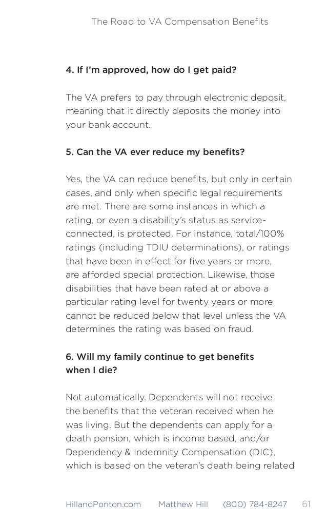 62 The Road to VA Compensation Benefits HillandPonton.com Matthew Hill (800) 784-8247 to a service-connected disability or ...