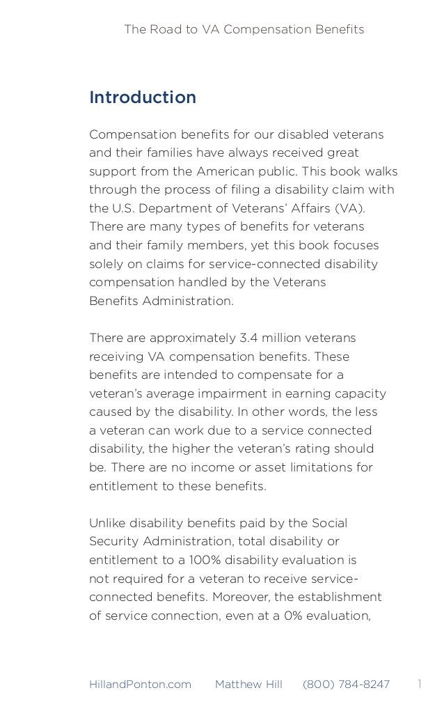 2 The Road to VA Compensation Benefits HillandPonton.com Matthew Hill (800) 784-8247 may entitle a veteran to many non-comp...