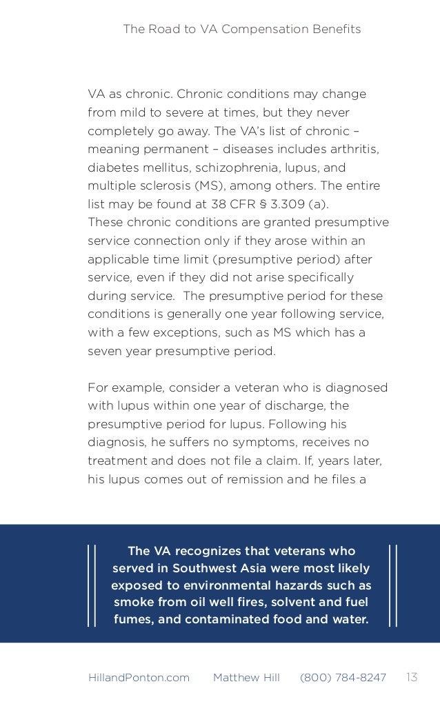 14 The Road to VA Compensation Benefits HillandPonton.com Matthew Hill (800) 784-8247 claim, the lupus will be service-conn...