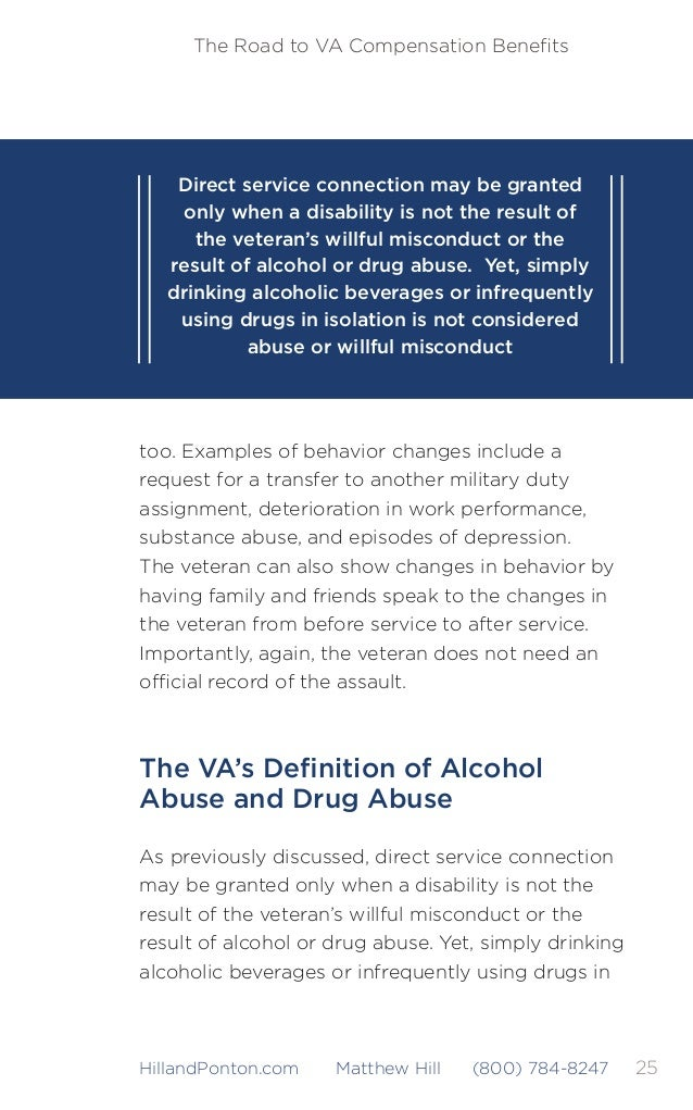 26 The Road to VA Compensation Benefits HillandPonton.com Matthew Hill (800) 784-8247 isolation is not considered abuse or ...