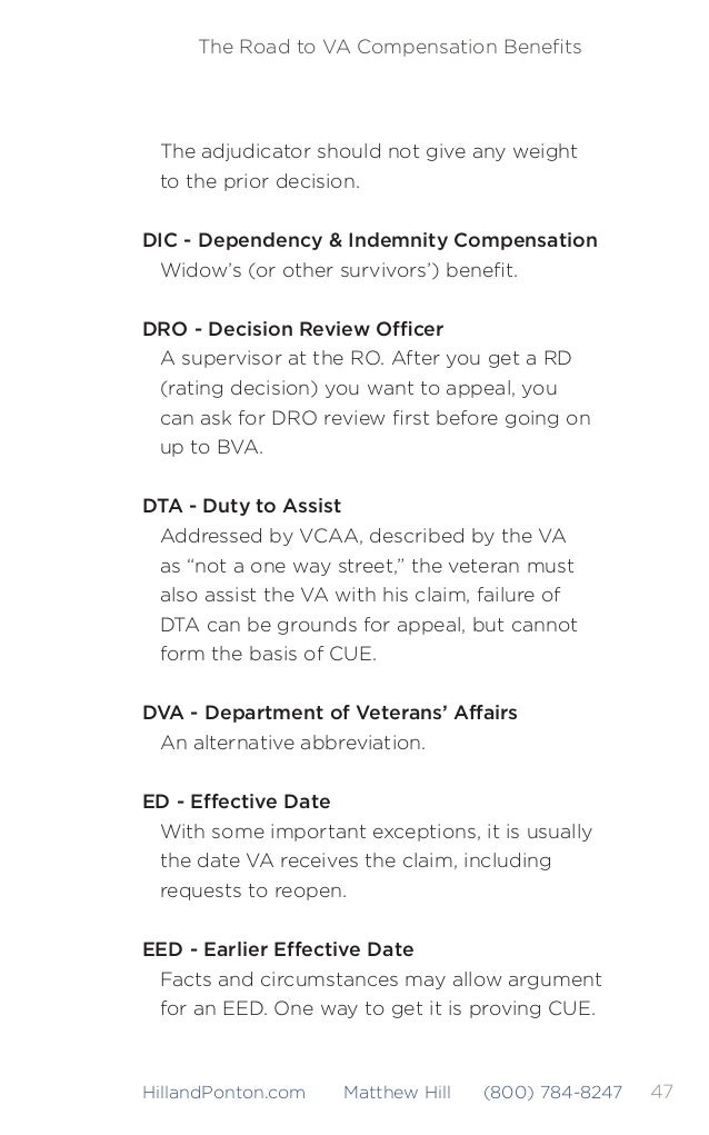 The Road to VA Compensation Benefits