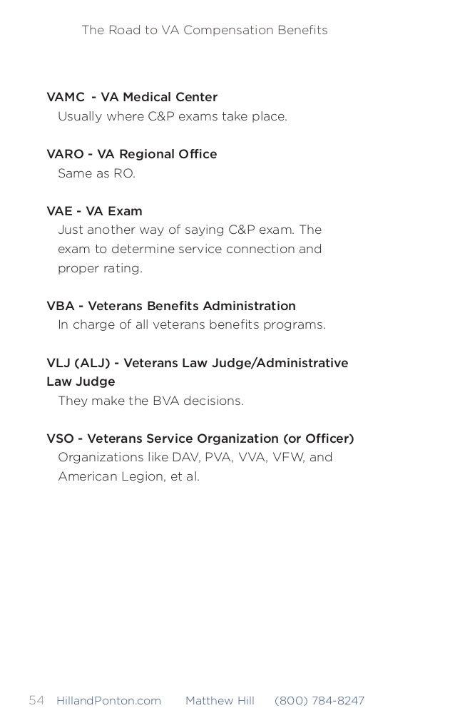The Road to VA Compensation Benefits 55HillandPonton.com Matthew Hill (800) 784-8247 COMMON FORMS Form 21-22 – Appointment ...