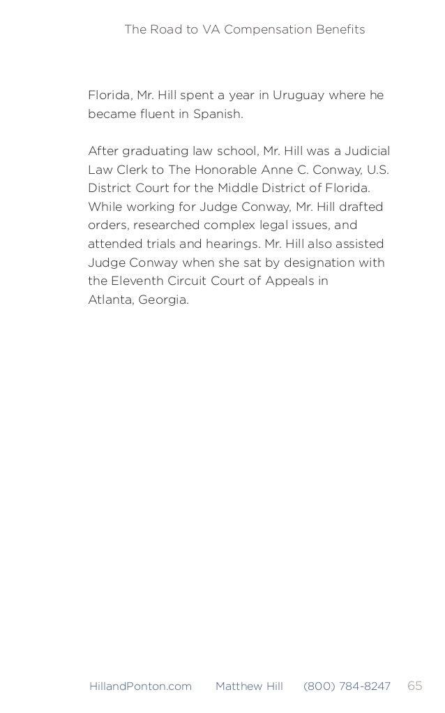 66 The Road to VA Compensation Benefits HillandPonton.com Matthew Hill (800) 784-8247 Brenda Duplantis has been helping cli...