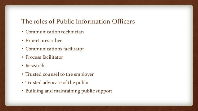 The role and responsibilities of information officers in ...