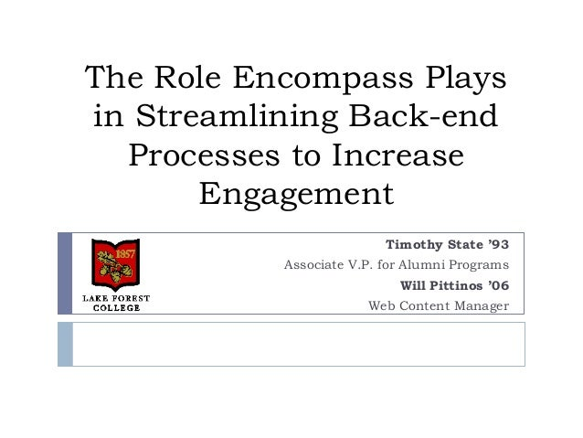 The Role Encompass Playsin Streamlining Back-endProcesses to IncreaseEngagementTimothy State '93Associate V.P. for Alumni ...