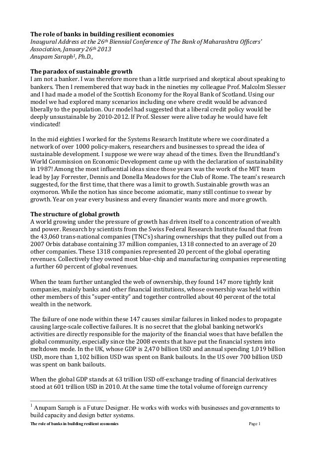The role of banks in building resilient economies Page 1 The	   role	   of	   banks	   in	   building	   resilient	   econ...