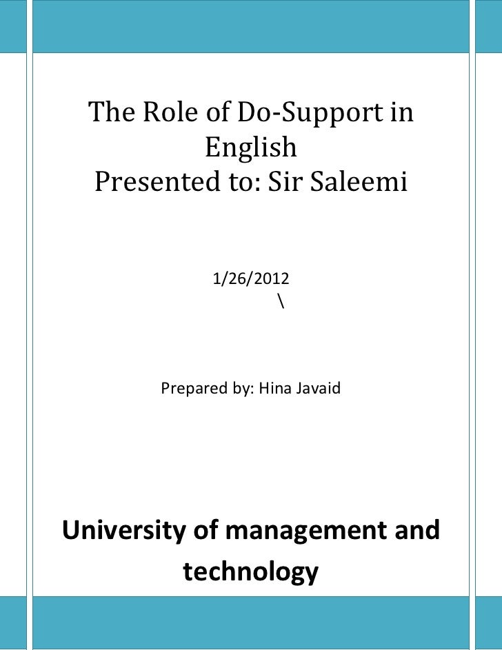The Role of Do-Support in          English Presented to: Sir Saleemi             1/26/2012                            Prep...