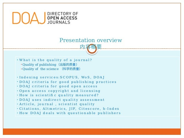 The role of DOAJ in quality assurance of OA publishing Slide 3
