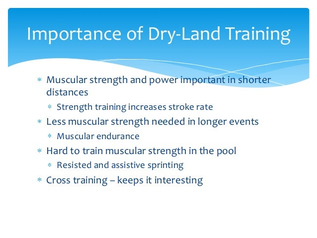 The important elements in swimming training
