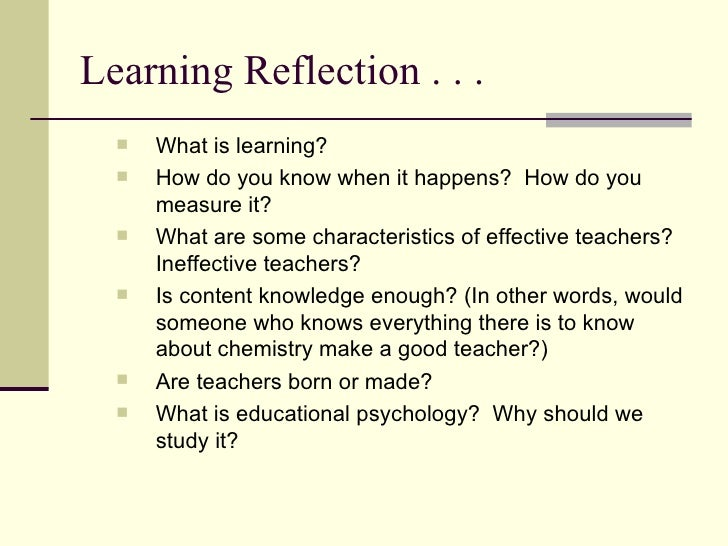 how to write in reflection