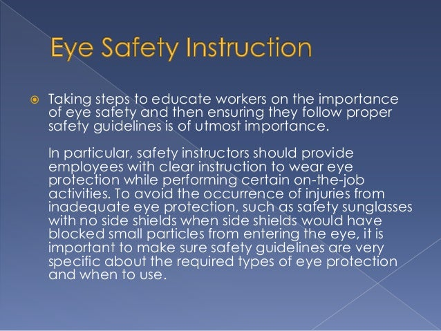 The Role of Eye Safety Instruction