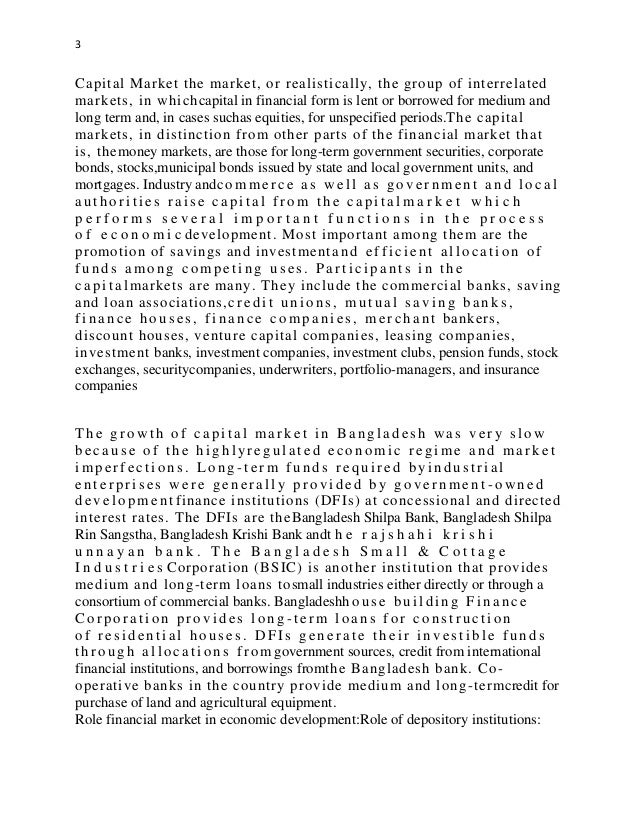 state the role of financial markets