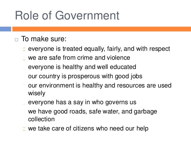 Essays on the role of government
