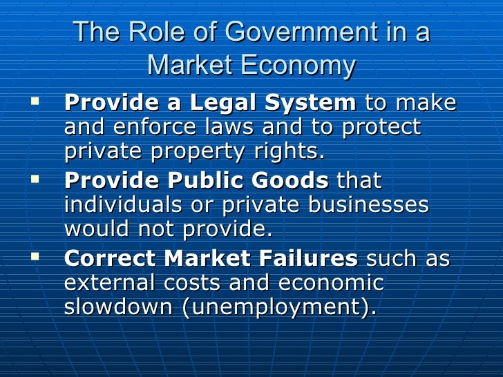 the role of government in economy The consumer's role  the trouble with controls in a free-market economy is that the government tends to consider the consumer right and the entrepreneur wrong.
