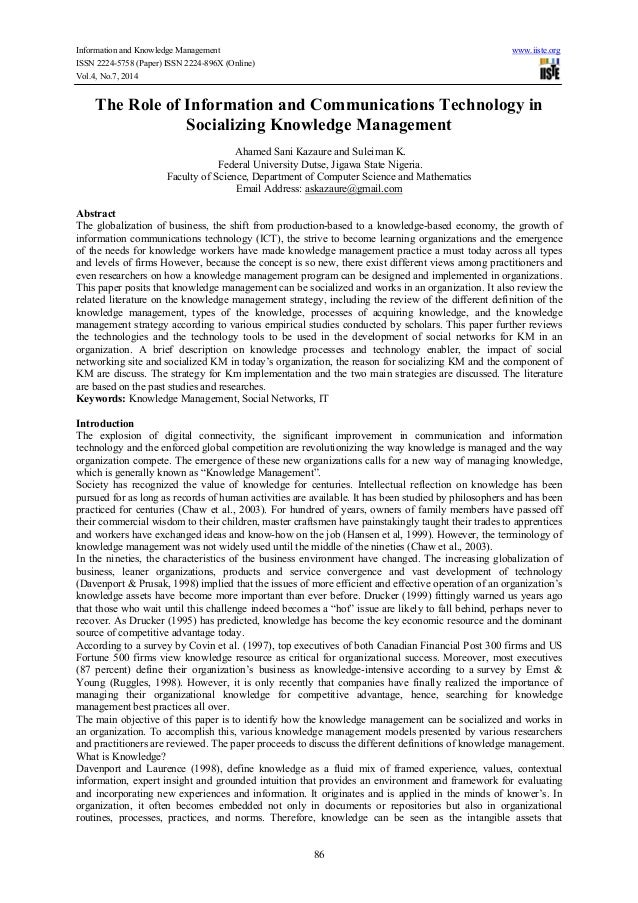 Information and Knowledge Management www.iiste.org ISSN 2224-5758 (Paper) ISSN 2224-896X (Online) Vol.4, No.7, 2014 86 The...