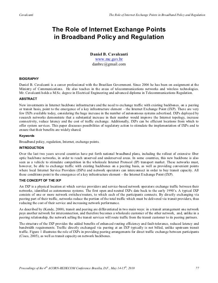Cavalcanti                                                       The Role of Internet Exchange Points in Broadband Policy ...