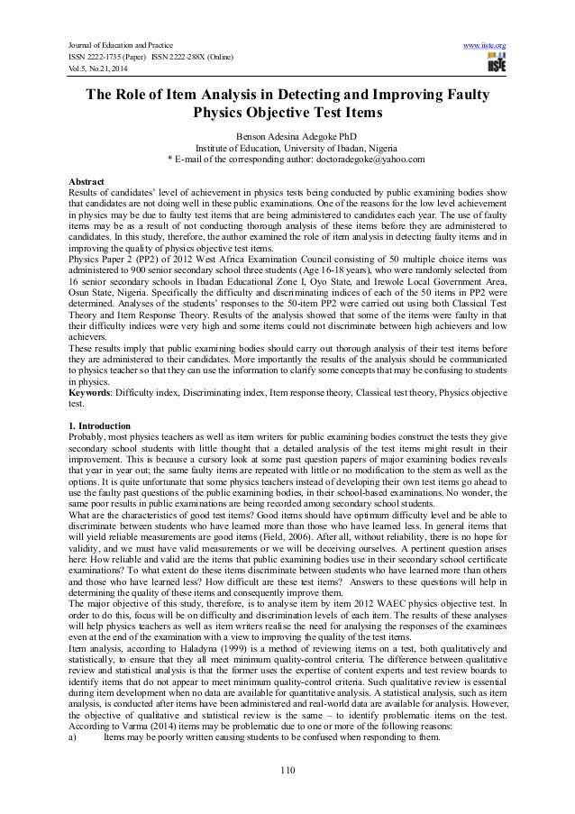 Journal of Education and Practice www.iiste.org ISSN 2222-1735 (Paper) ISSN 2222-288X (Online) Vol.5, No.21, 2014 110 The ...