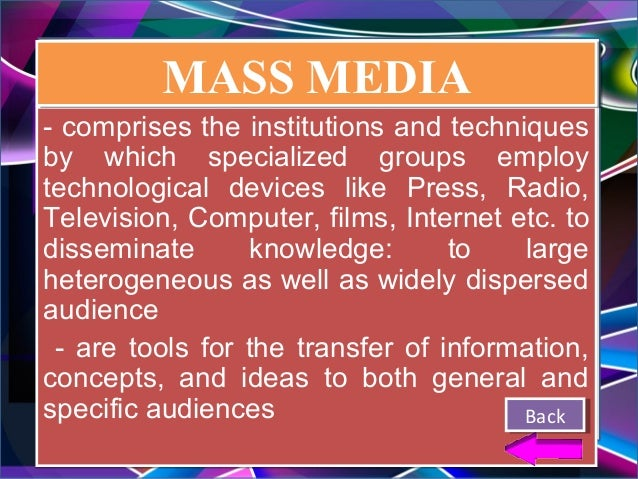 mass media in education The influence of media on learning: the debate continues slmq volume 22, number 4, summer 1994 robert b kozma, director, center for technology in learning, sri international.
