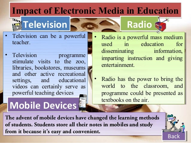 the role of mass media in education backback 9 impact of electronic media
