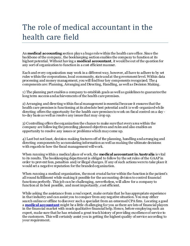 The role of medical accountant in the health care field
